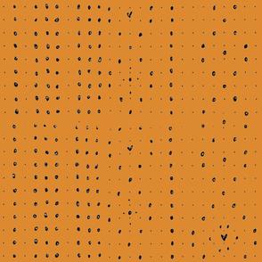 Orange Dots and Hearts Fabric