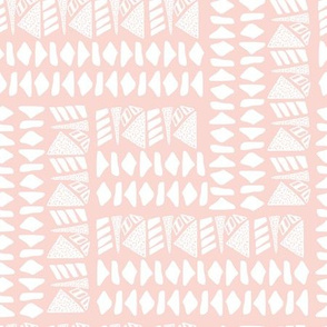White textured geometric shapes on pink