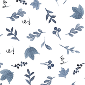 Blue maple leaf and berry pattern
