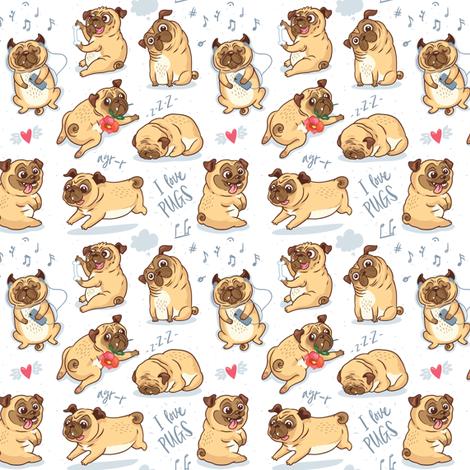 Pugs puppies fabric by penguinhouse on Spoonflower - custom fabric