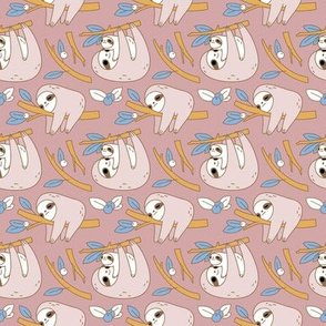 Sloth Pattern in Pink small