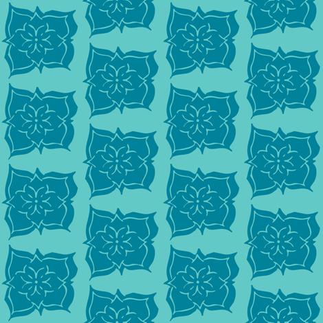 FavFlower Monochrome Teal fabric by maria_spinozzi on Spoonflower - custom fabric