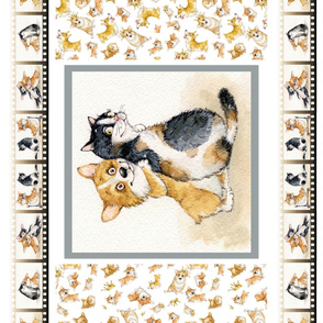 corgi blanket fabric panel  Inga SMG