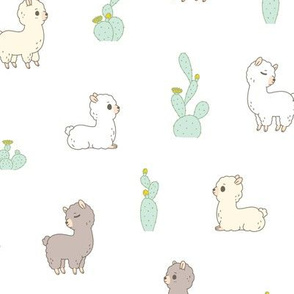 cactus and alpaca pattern in white