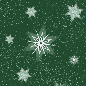Snowflakes 2 Green Large