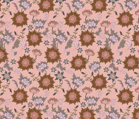 Vintage Pink Floral fabric by mabouk on Spoonflower - custom fabric