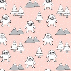 Yetti - trees mountains - pink with snow