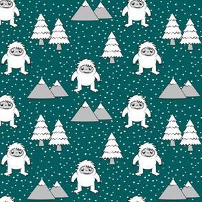 Yetti - trees mountains with snow
