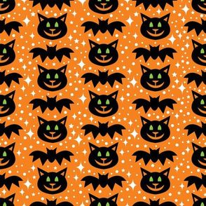 aloha cat and bat on orange  with sparkles
