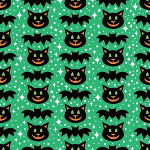 aloha cat and bat on green with sparkles