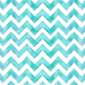 Teal Watercolor Zigzag Stripes