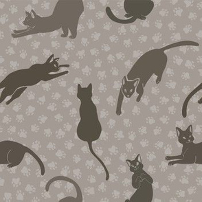 Cats Silhouettes Vector Pattern