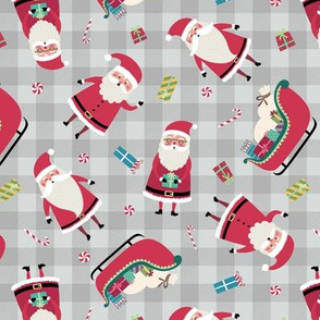 Santa w/ Gifts – Grey Check