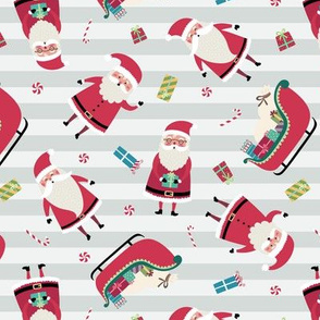 Santa w/ Gifts – Stripes (grays)