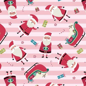 Santa w/ Gifts – Stripes (pink)