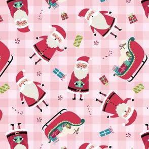 Santa w/ Gifts – Pink Check