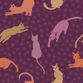 Purple and Pink Cats Silhouettes Vector Pattern