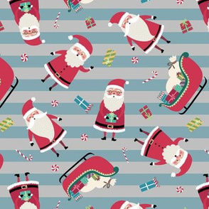 Santa w/ Gifts – Stripes (gray + blue pond)