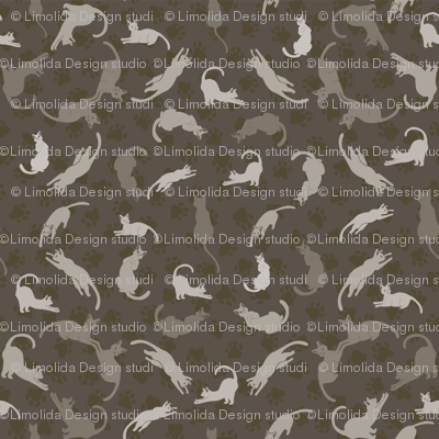 Brown and Grey Cute Cats Silhouettes Vector