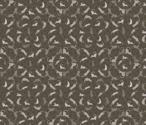Brown and Grey Cute Cats Silhouettes Vector fabric by limolida on Spoonflower - custom fabric
