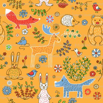 Animals_background yellow