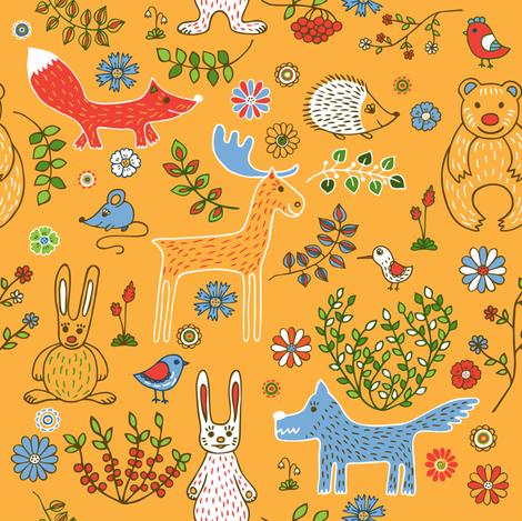 Animals_background yellow fabric by evgeniav on Spoonflower - custom fabric