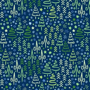 Sparkling Winter Forest in Blue & Green
