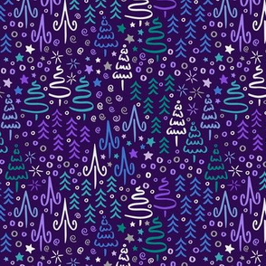 Sparkling Winter Forest in Purple & Blue