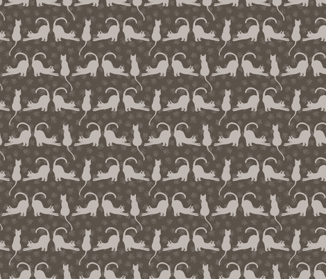 Brown and Gray Cute Stretching Cats Vector Pattern fabric by limolida on Spoonflower - custom fabric