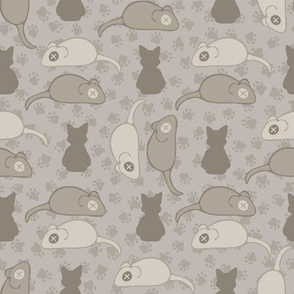 Grey and Brown Cat Stitched Mouse Vector Pattern