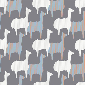 Gray Pink and White Llama Silhouette Seamless