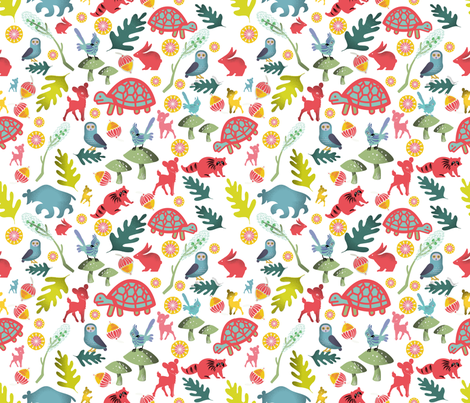 MidCenturyWoodlandCreatures -smaller repeat) fabric by chickoteria on Spoonflower - custom fabric