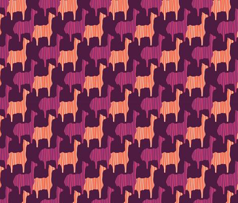 Boho Pink Purple and Orange LLama Silhouette fabric by limolida on Spoonflower - custom fabric