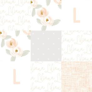 Personalized Blush Rosette Patchwork Wholecloth // Liliana