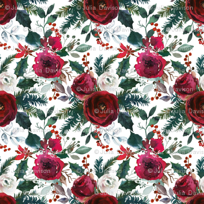 christmas floral white large