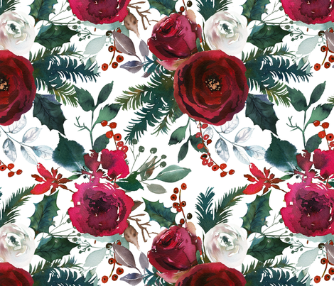 christmas floral white large  fabric by lil'faye on Spoonflower - custom fabric