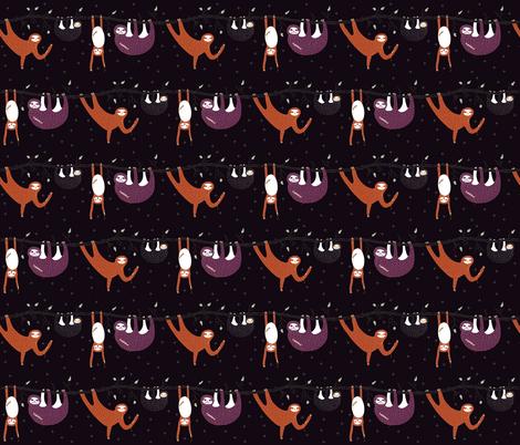 zombie sloth apocalypse - eggplant - mini fabric by booboo_collective on Spoonflower - custom fabric