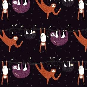 zombie sloth apocalypse - eggplant - mini