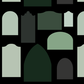 green tombstones