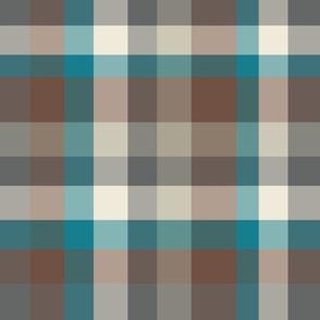 Modern Plaid - Brown Gray Blue