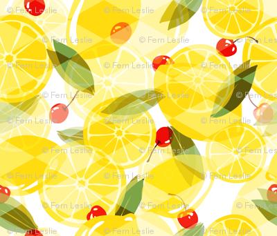 Lemons and Cherries - White - Overlay