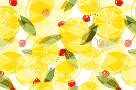 Lemons and Cherries - White - Overlay fabric by fernlesliestudio on Spoonflower - custom fabric