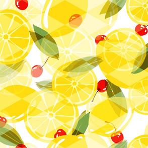 Lemons and Cherries - White - Overlay