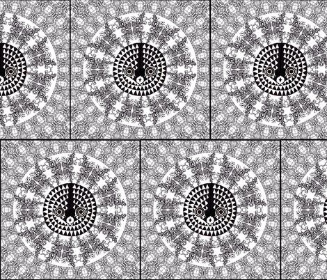 African Mask in Mandala Black and White fabric by fabric_is_my_name on Spoonflower - custom fabric