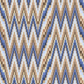 Blue and Beige Bargello Flamestitch