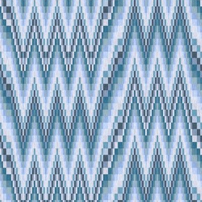 Bargello Flamestitch in Grayed Blue Greens