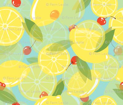 Lemons and Cherries - Blue