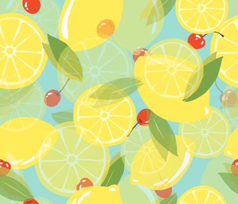Lemons and Cherries - Blue fabric by fernlesliestudio on Spoonflower - custom fabric