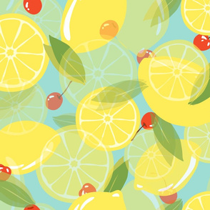 Lemons and Cherries - Blue
