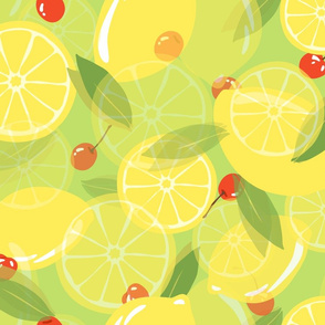 Lemons and Cherries - Lime Green